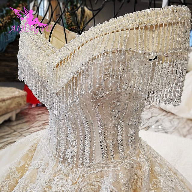 AIJINGYU Wedding Dresses 2021 Gowns Sequin Buy Bridal Boutique Newest With Long Tail Unique Gown Finland Wedding Dress Fabric