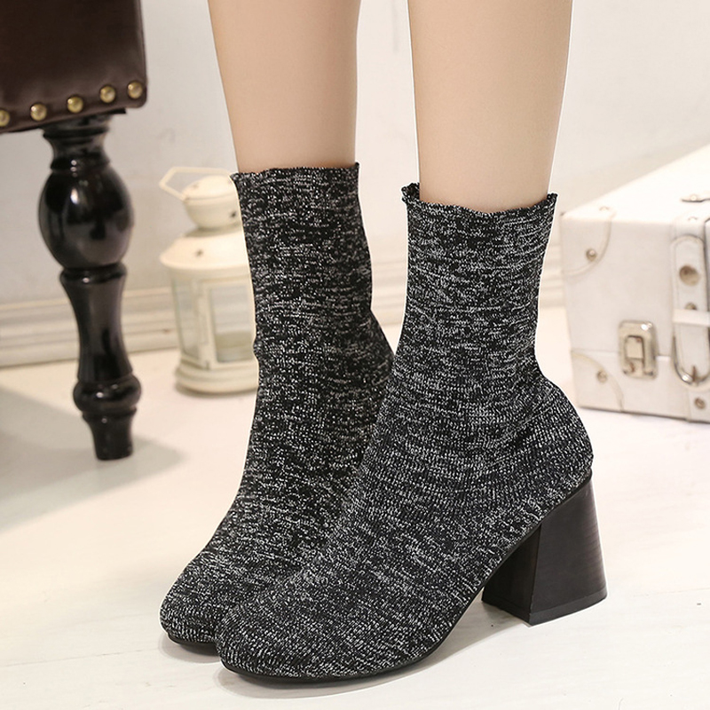 ФОТО The new High quality autumn winter wool stretch boots Women's Rough with high-heeled boots shoes fashion sexy Martin Boots