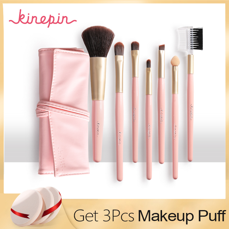 KINEPIN Professionele 7 stks Kit Make Set Borstels Draagbare Cosmetische Wenkbrauw Poeder Make Up Borstel Tool w / Sleek Lederen Tas Houder