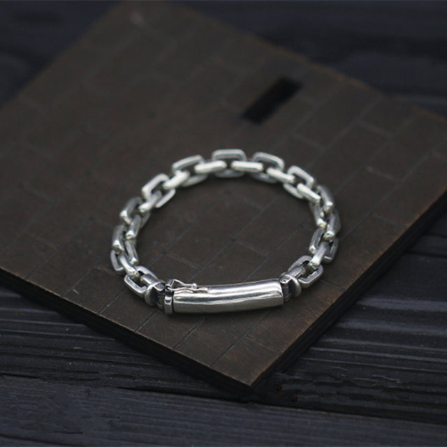 e78a811aa7d99 US $77.5 |Pure Solid Silver 925 Link Chain Mens Bracelet Real Sterling  Silver 925 Cool Simple Design Mens Jewelry Thai Silver 7mm Chain-in Chain &  ...