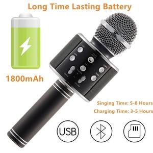 Image 2 - Bluetooth mikrofon WS858 כף יד אלחוטי קריוקי מיקרופון טלפון נגן מיקרופון רמקול שיא מוסיקה KTV Microfone עבור iPhone מחשב