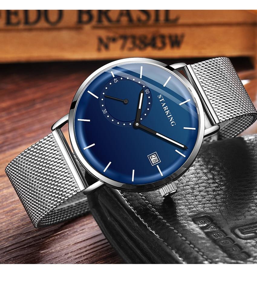 HTB1rsVBelWD3KVjSZKPq6yp7FXaG STARKING Dress Men Watch Steel Mesh Band Quartz Analog Wristwatch 3ATM Waterproof Curved Glass Blue Male Clock Relogio Masculino