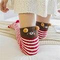 2017 Cut Long Socks Cartoon Thigh Socks High Stripe Over Knee Socks Long Cotton Coral Cashmere Stripy Warm High Stockings new