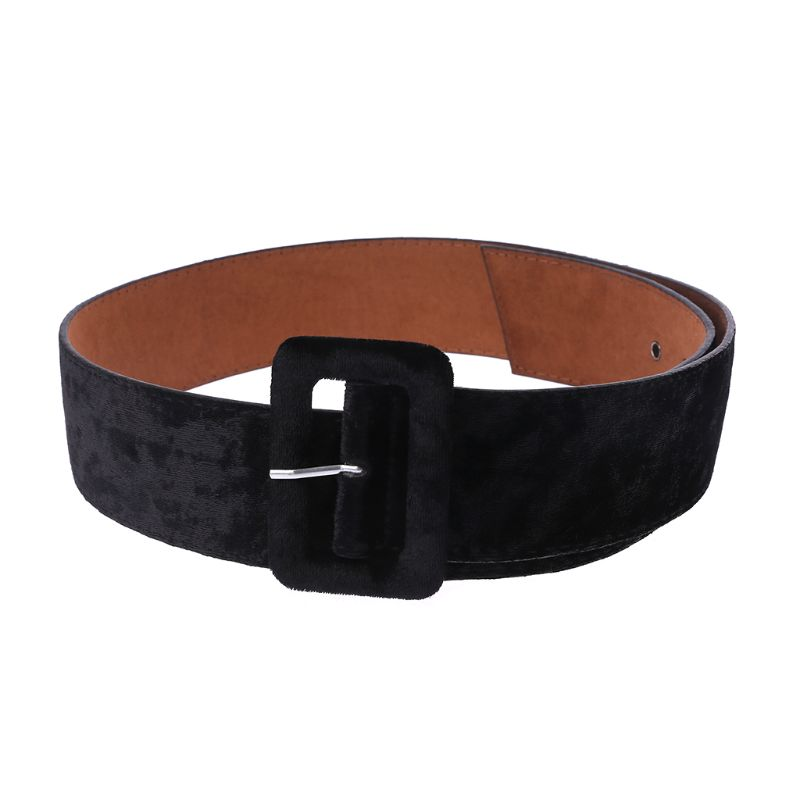 New Design Wide Belt Female Dress Belts Decorate Waistband Fashion Silver Pin Buckle Velvet Belt Party Belt Black Flannel Women