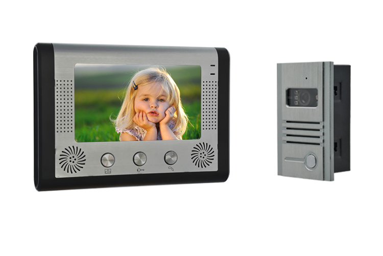 7 Inch Big LCD Monitor IR Night Vision Wired Intercom Video Door Phone