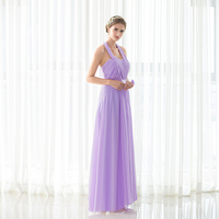 Backlackgirl Elegance Hot Cheap Purple Bridesmaid Dress New Arrival Halter Long Chiffon Wedding Party Gown Plus Size Custom Made
