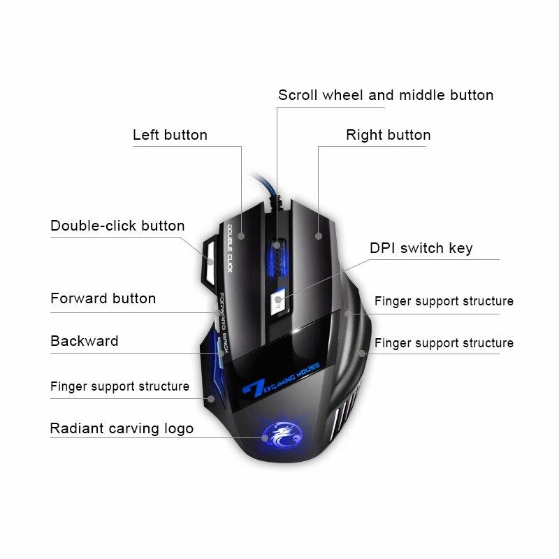 imice USB Gaming Mouse 7 gomb 5500DPI LED optikai vezetékes kábel - Számítógép-perifériák - Fénykép 5