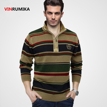 High Quality 100% Cotton 2017 Europe style men's winter warm casual brand knitwear pullover man spring loose stripe sweater XXXL
