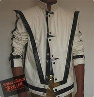 MJ clothing Michael Jackson Thriller White Leather Classic MV show US Star Imitation English Military Retro Jacket