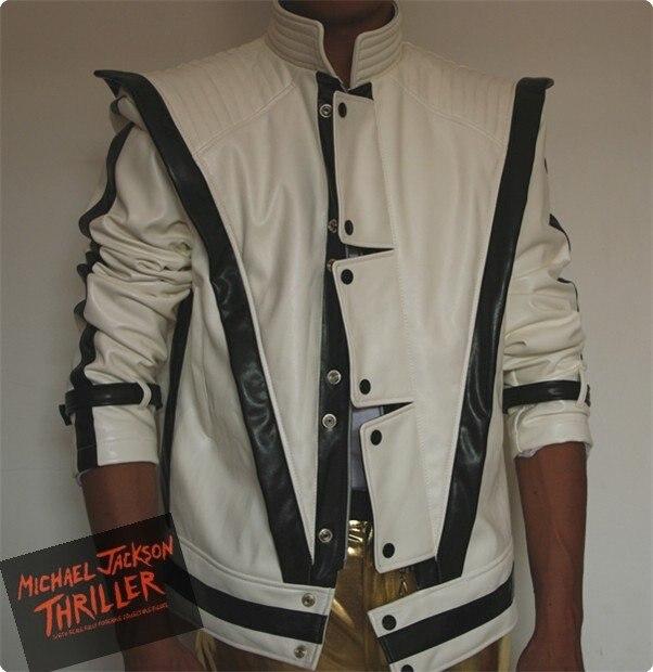 MJ vêtements Michael Jackson Thriller blanc cuir classique MV show US Star Imitation anglais militaire rétro veste