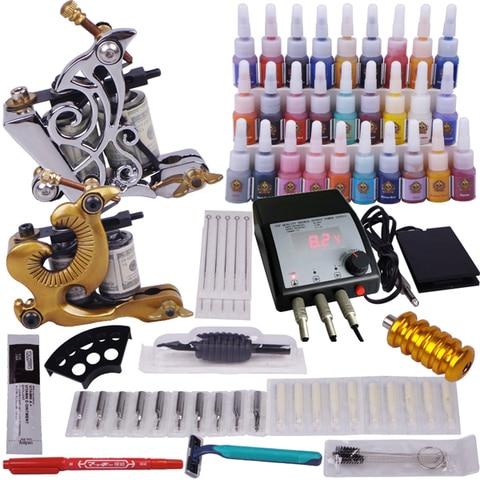 body art professional 2 pcs tatuagem metralhadora tintas agulhas de fornecimento de energia conjunto completo