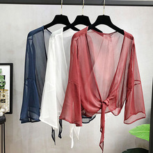 2019 Solid Woman Tops Summer Chiffon Blouse Clothing Fashionable Tulle Top Transparent Casual V-Neck Sexy Red Shirt Loose Autumn