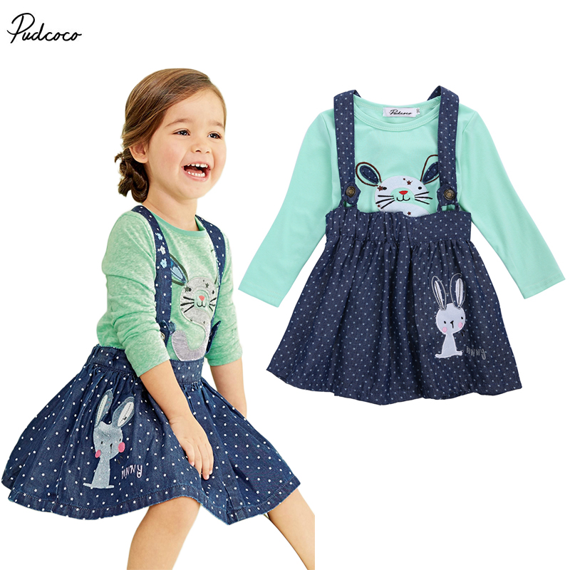 2017 Baby Girls Dress Bunny Rabbit Tops Shirt+Denim Overalls Skirts Outfits Set 2pcs baby kids girls rabbit bunny green cotton t shirt tops dots denim bib overalls skirts outfit clothes 1 5y