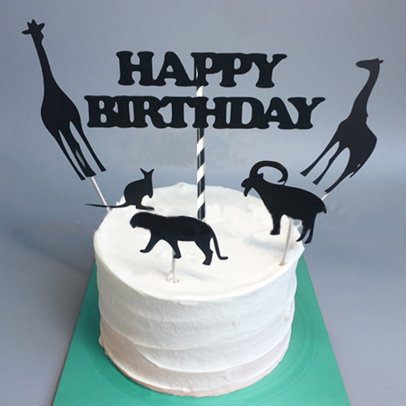 1 Set Creative New Black Animal Happy Birthday Cake Toppers Jungle Safari Party Cupcake Decoration For Kids Decor