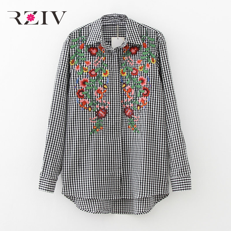 RZIV 2017 clothes women shirt casual lattice flower long sleeve embroidered shirt