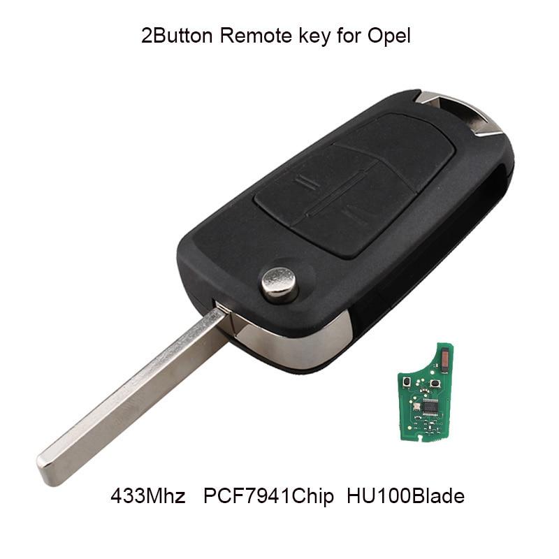 2Button 433MHZ Remote Car Key For Vauxhall Opel Astra H 2004 -2009 Flip Transponder Chip PCF7941 Chip HU100 Blade Original key