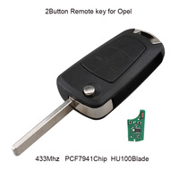 2Button 433MHZ Remote Car Key For Vauxhall Opel Astra H 2004 2009 Flip Transponder Chip PCF7941 Chip HU100 Blade Original key