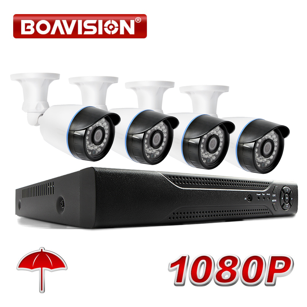 BOAVISION 4CH 1080P AHD DVR System Kit 2000TVL HD Outdoor Security Camera System Bullet 4 Channel CCTV DVR Kit AHD Camera Set ahd 4ch 1080n hdmi dvr 1080p 2 0mpp hd outdoor security ahd camera system 4 channel cctv surveillance dvr kit ahd camera set