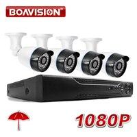 BOAVISION 4CH 1080P AHD DVR System Kit 2000TVL HD Outdoor Security Camera System Bullet 4 Channel CCTV DVR Kit AHD Camera Set