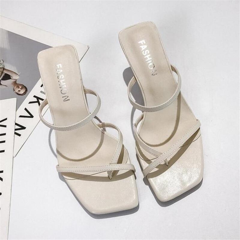 Classics High Heels Sandals Women Strap White Sandals Ladies Fashion Slip On Sandals Thin Heels Sexy Sandals Women Summer Shoes