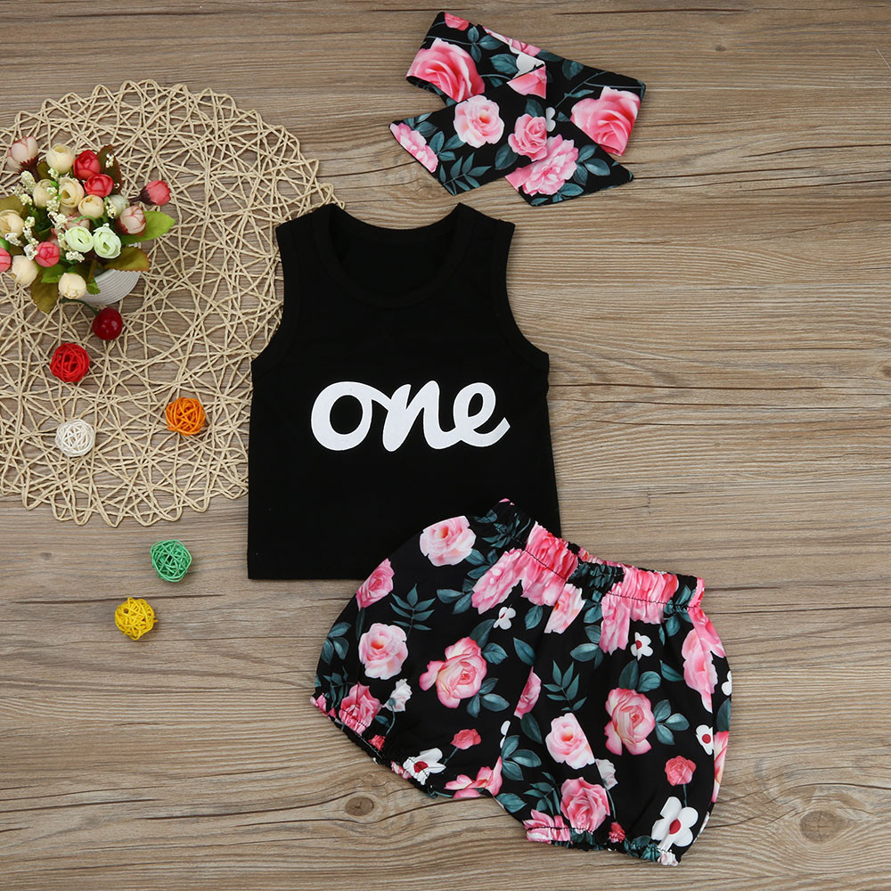 53093e259 MUQGEW Fashion Baby Girls 3pcs Outfits Clothes Letter Print Sleeveless T-shirt  Tops+Print