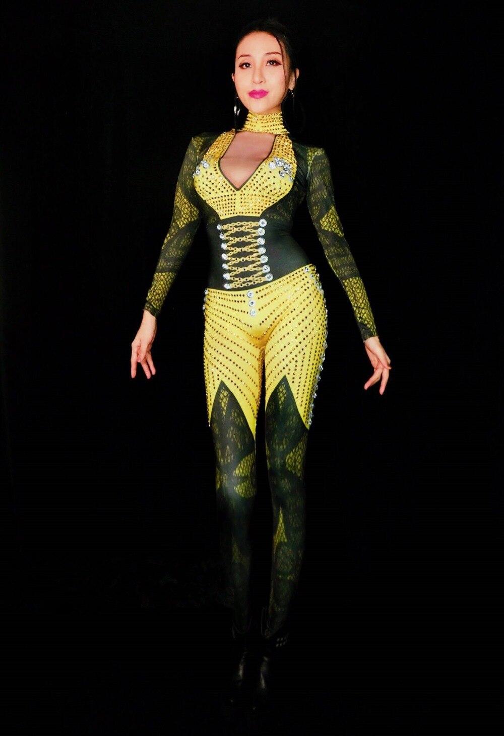 Yellow Crystal Diamond bodysuit Female DJ Singer Costume European Bar Dancer Pole dance Stage Outfit Sexy Stretch Leotard Romper