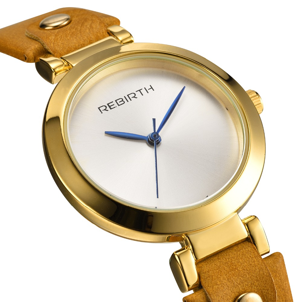 REBIRTH Brand Luxury Fashion Women Quartz Watches Blue pointer Bracelet Clock Ladies Dress Watch with Comfortable Leather Strap elegant design bling diamond sands dial women watches fashion female dress watch rebirth luxury brand leather quartz clock gifts