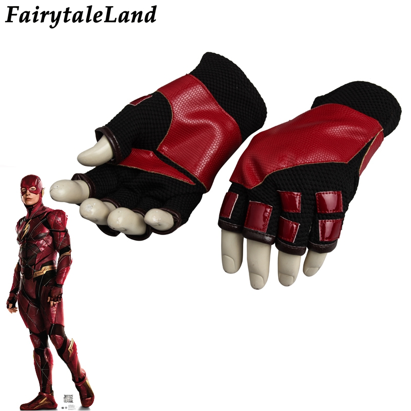 Justice League Flash Cosplay Accessory Superhero cosplay Flash cycling gloves Fancy leather cosplay Justice League gloves