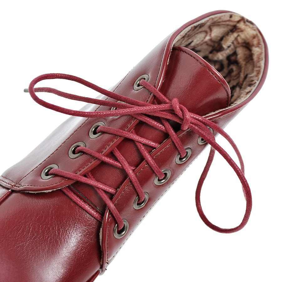 Outono inverno botas de tornozelo feminina plataforma de moda quadrado salto alto martin botas rendas até dedo do pé redondo sapatos femininos branco preto vermelho