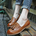 Brogue Sapatos de outono Mulher Casual Flats Oxford Shoes Lace Up Estilo Britânico Mocassins Plus Size Mulheres Ballet Flats Zapatos Mujer