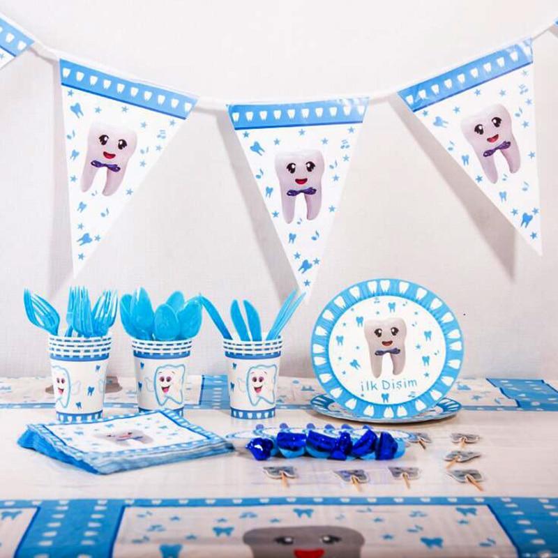 Мультфильм зубы вечерние поставки бумажная посуда тарелка чашка для baby shower или для вечеринки по случаю свадьбы декор для рождества, дня рож...