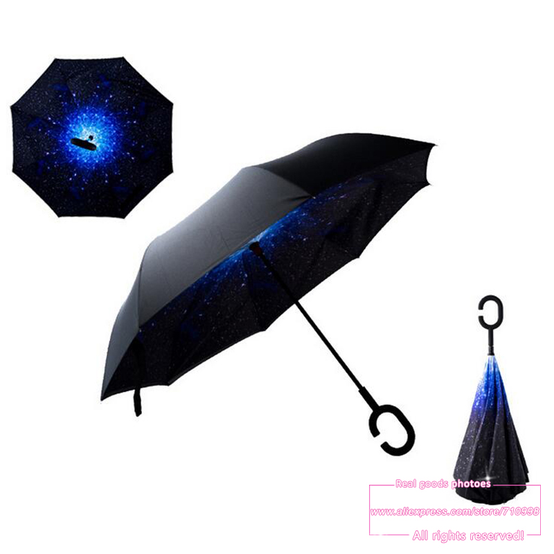 Drop Shipping 2016 Creative High Quality Fashion C Handle Cell Phone sky reverse kazbrella handfree sun umbrella rain women