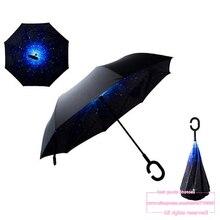 Envío de la gota 2016 Moda Creativa de Alta Calidad C Mango Teléfono Celular cielo inversa kazbrella handfree sol paraguas lluvia de las mujeres