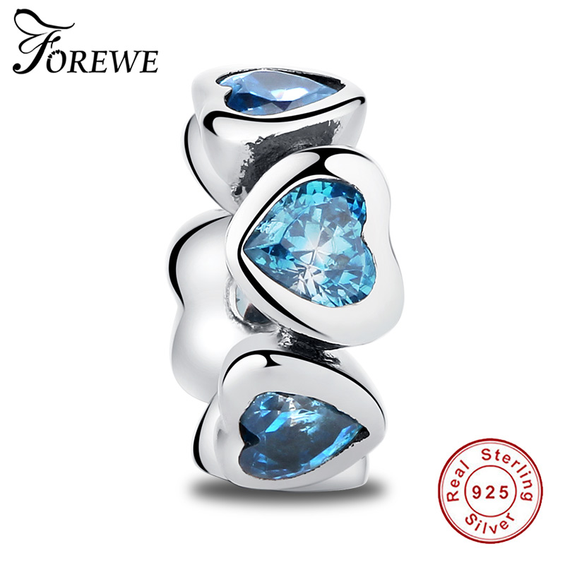 FOREWE 2 Colors 100% 925 Sterling Silver Blue Crystal Heart Spacer Beads fit Pandora Charm Bracelet DIY Jewelry Women Gift