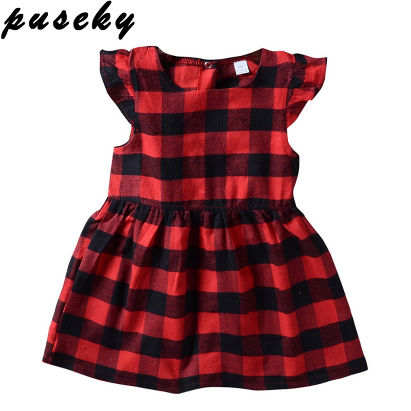 Puseky Newborn Toddler Girls Dress Clothing Summer Ruffles Sleeve Red Plaid Princess Casual Outfits Baby Kids Sundress Clothes цена