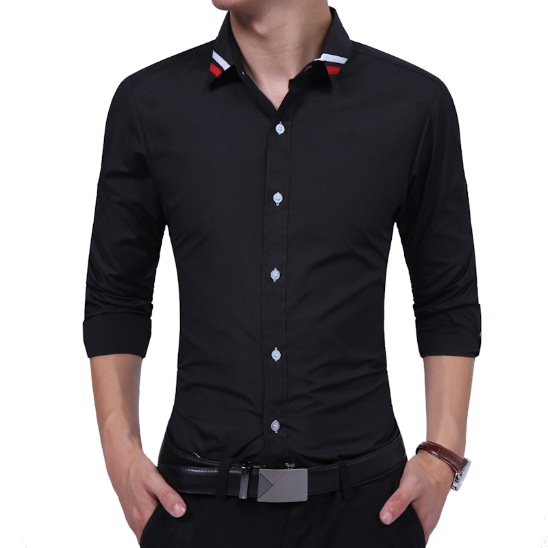 Brand 2018 Fashion Male Shirt Long-Sleeves Tops Oversize Solid Color Simple Ribbon Casual Mens Dress Shirts Slim Men Shirt 3XL ...