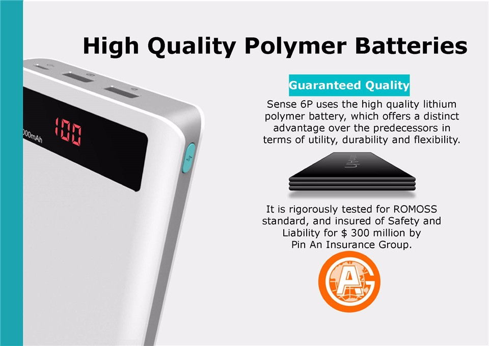 000mAh ROMOSS Sense 6P Power Bank Dual USB Portable External Battery With LED Display Fast Portable Charger For Phones Tablet 15
