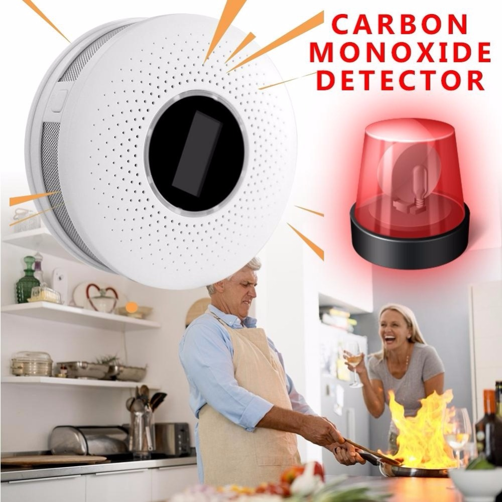 Home Security High Sensitive LCD Photoelectric Independent CO Gas Sensor Carbon Monoxide Poisoning Alarm