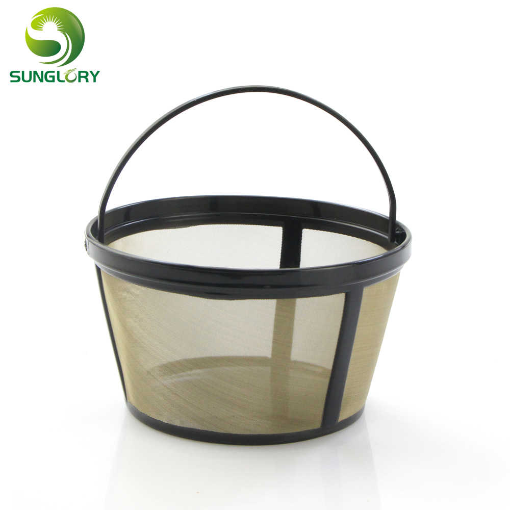 Reusable Gold Tone Coffee Filter Handled Stainless Mesh Basket Style Strainer