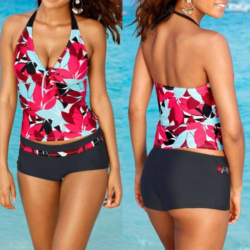 Women Tankini Sets Sporty With Shorts Bikini Floral Print Swimsuit Bandage Closed Bathing Suit Push Up Swimwear