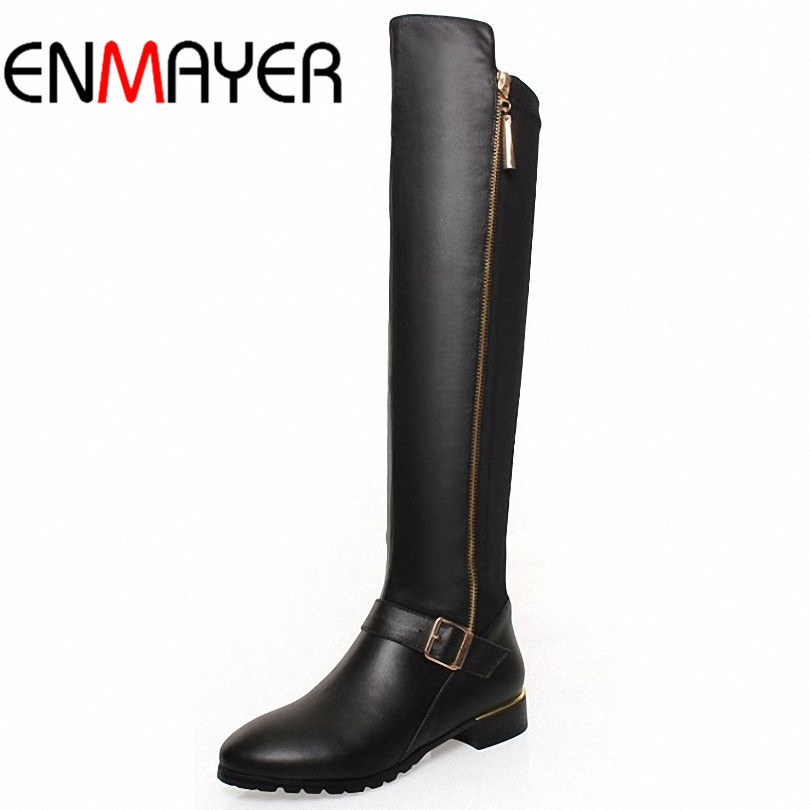 ФОТО ENMAYER High Quality New Sexy Over Knee Boots Zipper  Fashion Genuine Leather Boots Winter Long Motorcycle Boots for Women