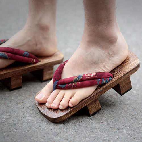 US4-14 Men Unisex Wooden Japanese GETA Clog Bidentate Flops Flip Wood Sandal Shoes Floral 5Colors Plus Big Size