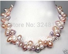 choker Women Gift word Love NEW genuine multicolor cultured pearl necklace &aa **A good wedding Noble style anime