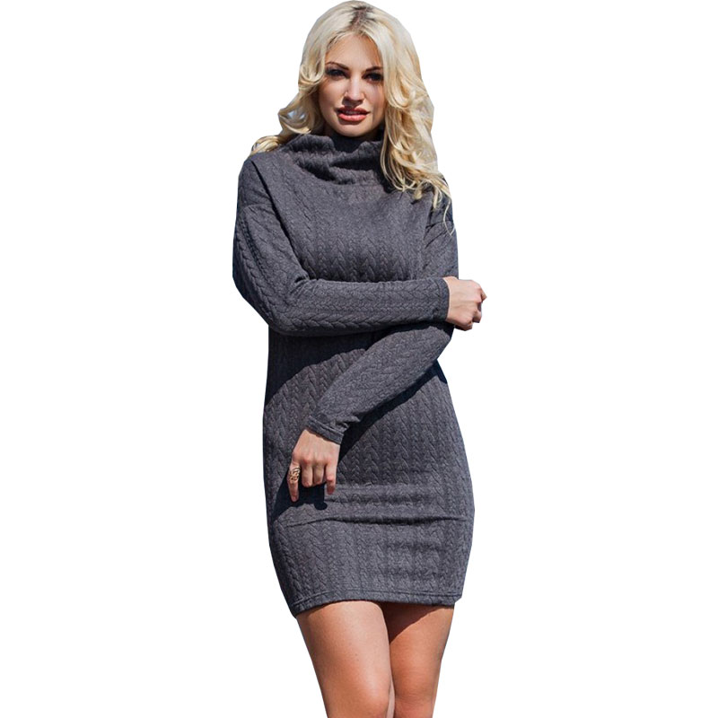 Women's Clothing New Autumn Winter Women Sweater Dress O-neck Collar Split Sleeve Knee-length Knitted Dress Female Elastic Warm Vestidos Elegant Products Hot Sale