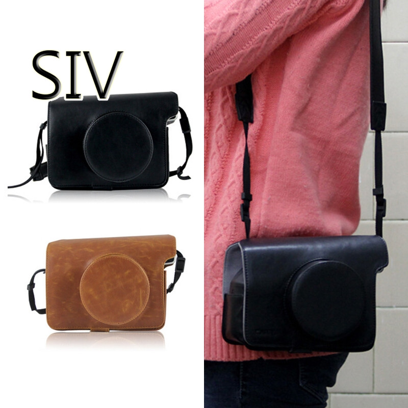 SIV Camera Bag Instax Wide 300 Shoulder Strap Retro Style Leather Camera Bags For Fujifilm