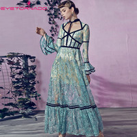 Sexy flare sleeve velvet patchwork lace dress elegant long sequined party club ladies beach boho blue summer maxi dresses women