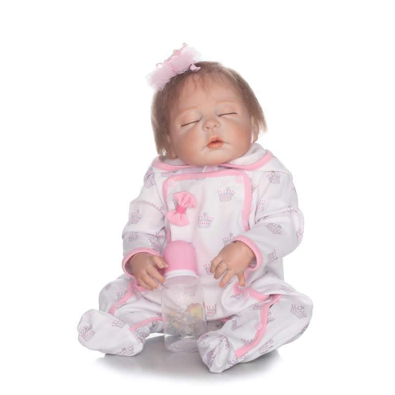 23 inch Full Silicone Vinyl Close Eyes Hair Rooted Reborn Baby Dolls kids Fashion Birthday Gifts Playmates Reborn Bonecas new fashion design reborn toddler doll rooted hair soft silicone vinyl real gentle touch 28inches fashion gift for birthday