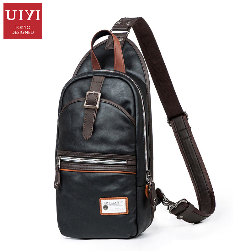 ФОТО UIYI PU leather Men Chest Pack Messenger Bag Men Black Bag Classic Crossbody Shoulder Bag Schultertasche Herren 2017