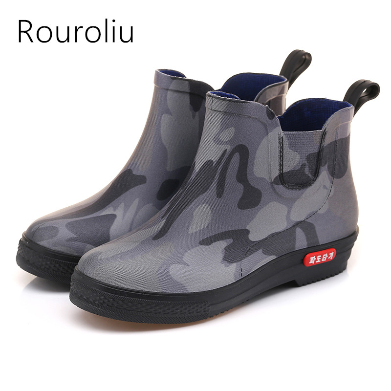 b83167a1e735 Rouroliu Men Breathable Camouflage Work Shoes Spring Autumn Non-Slip Waterproof  Water Shoes Wellies Ankle Rainboots RB126
