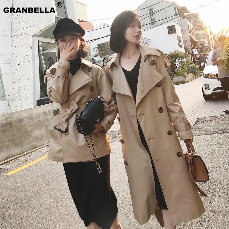 Windbreaker female 2019 spring autumn double breasted khaki   trench   coat feminino chic overcoat women plus size